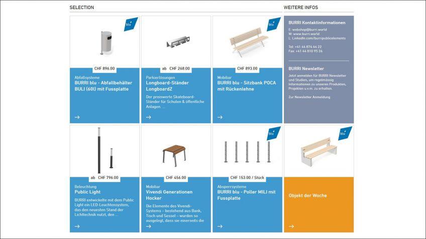 Am  unteren  Ende  der  Webseite  befinden  sich  vorgestellte  Produkte  sowie  das  «Möbel  des  Monats».