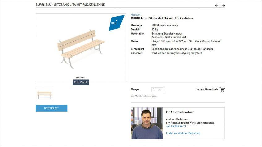 Beispiel  eines  neuen  blu-Produktes  auf  www.burri.shop  –  unkompliziert  und  übersichtlich.