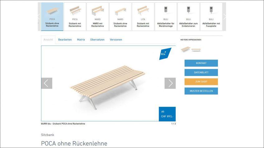 Auf  www.burri.world  sind  bei  blu-Produkten  die  Funktionen  »Zum  Shop«  und  »Muster  bestellen«  verfügbar.
