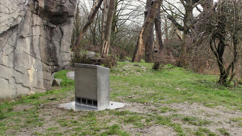 The feeding box 'TIMO' at Zurich Zoo's 'Sangay Cloud Forest'