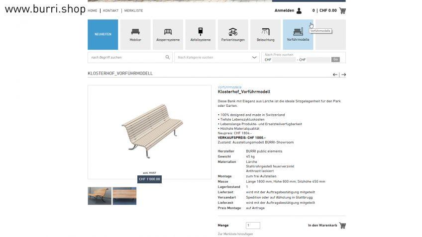 Jetzt im BURRI-Shop – Vorführmodelle zu vergünstigtem Preis
