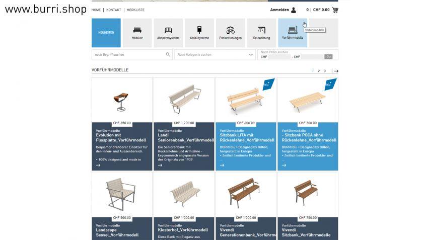 Diverse Vorführmodelle im BURRI-Webshop.