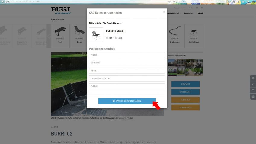 Entsprechende(s)  Produkt(e)  und  gewünschtes  Format  anwählen,  Formular  ausfüllen  und  Download  starten  (roter  Pfeil).