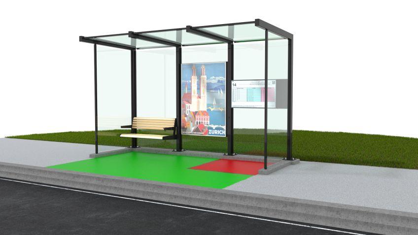 Wartehalle  aus  drei  Segmenten  mit  eingezeichneten  BehiG-konformen  Manövrierflächen