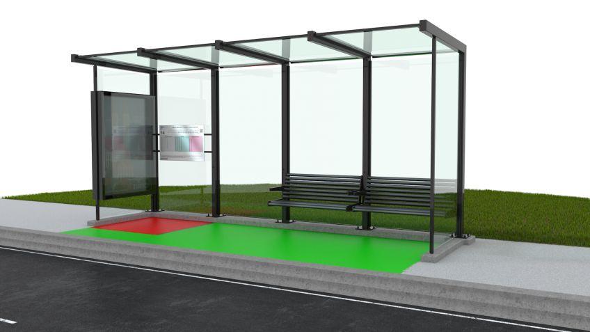Wartehalle  aus  vier  Segmenten  mit  eingezeichneten  BehiG-konformen  Manövrierflächen