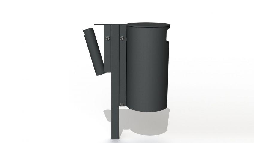 Public  Ascher  zur  Entsorgung  von  Zigaretten  kombiniert  mit  Public  Bin  50L  Abfallkübel.