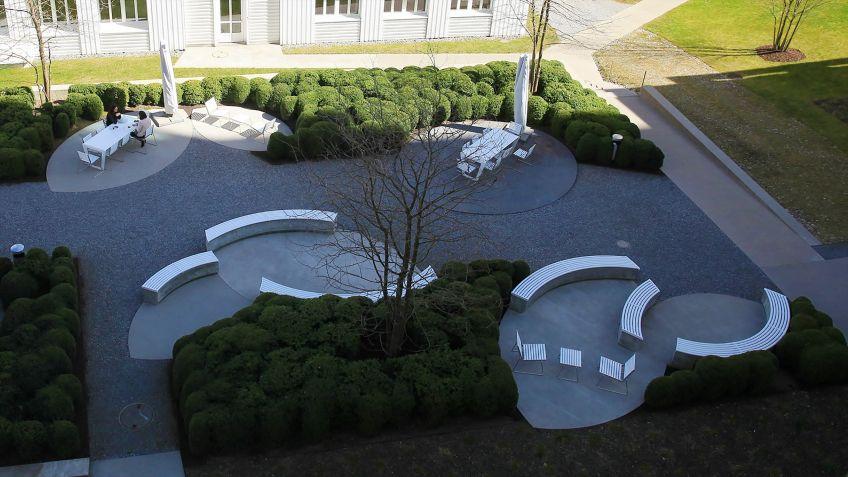 Vogelperspektive  auf  den  Innenhof  der  Bühler  AG,  Uzwil