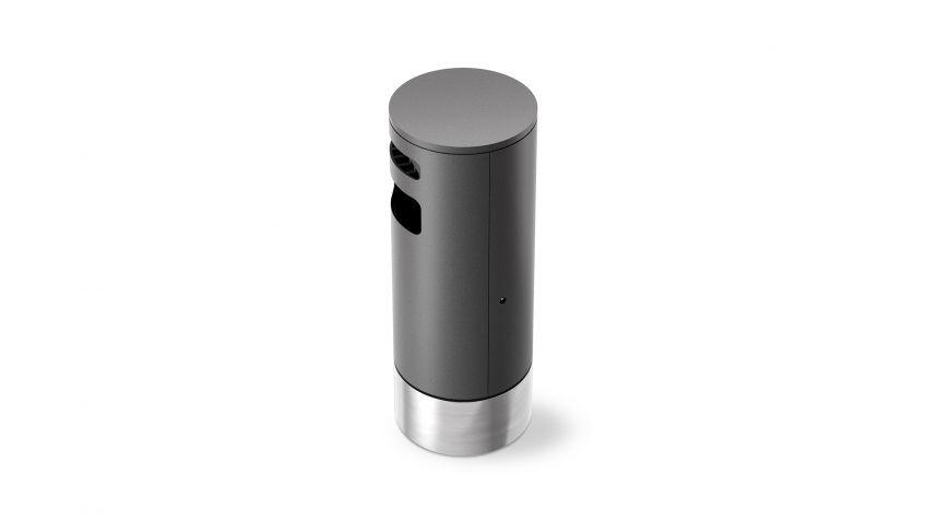 BURRI blu - BULI waste receptacle with ashtrey on base