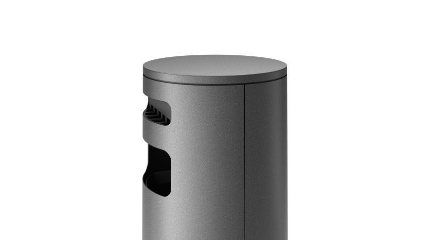 BURRI blu - Abfallbehälter BULI mit Ascher auf Sockel