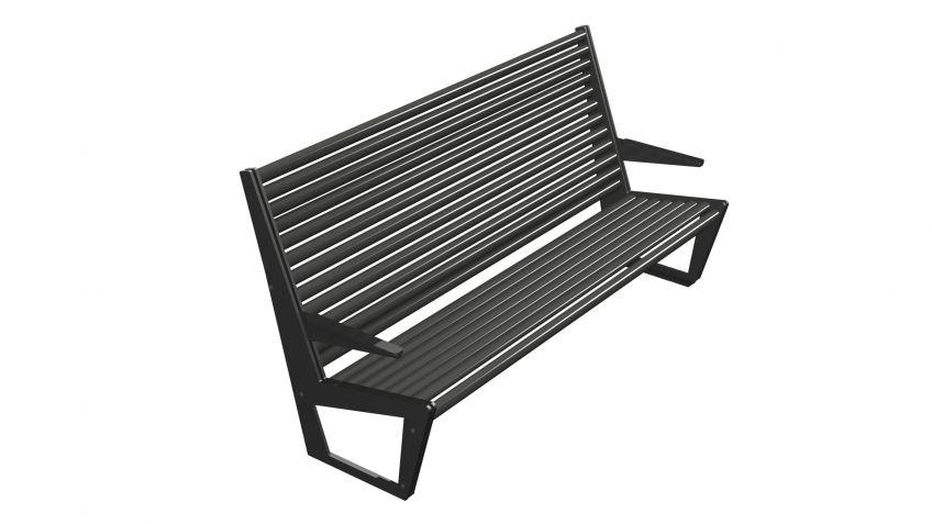 Die  BURRI  02  Sitzbank  mit  hoher  Rückenlehne  in  der  Ausführung  mit  Armlehnen.