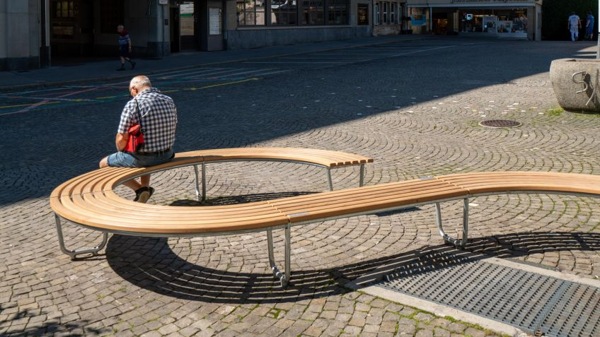 The bench is made of local larch wood