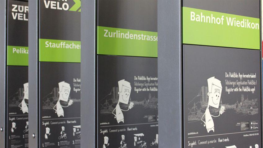 PubliBike Stationen Wiedikon, Zurlindenstrasse, Stauffacherbrücke, Pelikanplatz