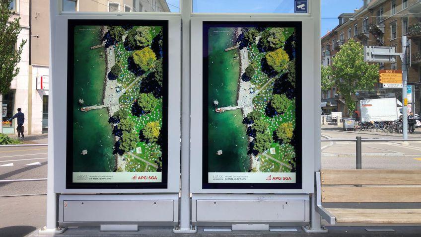 Zwei  Werbeflächen  nebeneinander  am  Albisriederplatz  in  Zürich