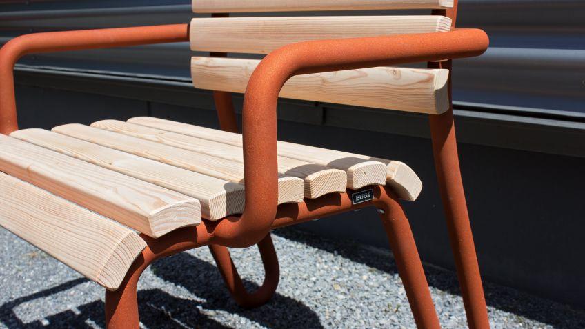 Vivax armchair with Corten steel look