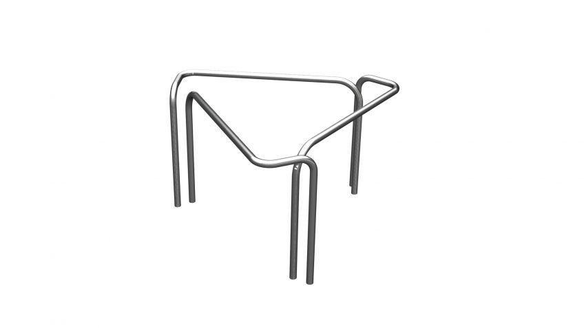Die  Dreiecks-Konstellation  des  Cykelog  Parksystems  für  3  Fahrräder  eignet  sich  z.B.  als  Trennelement  um  kleine