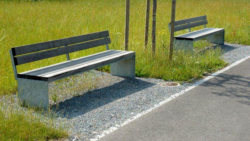 Picknick  Sitzbank  in  verwittertem  Lärchenholz  in  einer  Parkanlage.