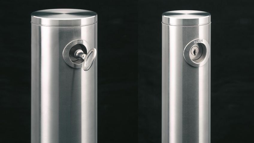 Stainless steel bollard with lock