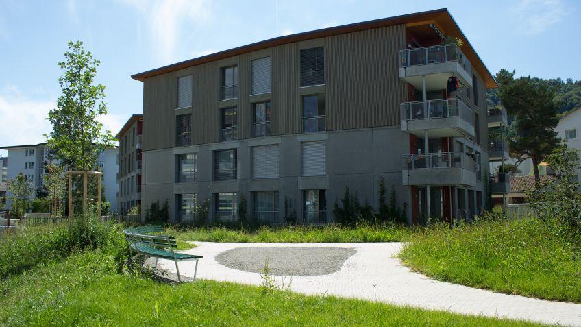 Insgesamt  wurden  in  der  Siedlung  Eyhof  Zürich  fünf  Landi  Bogenbänke  montiert.