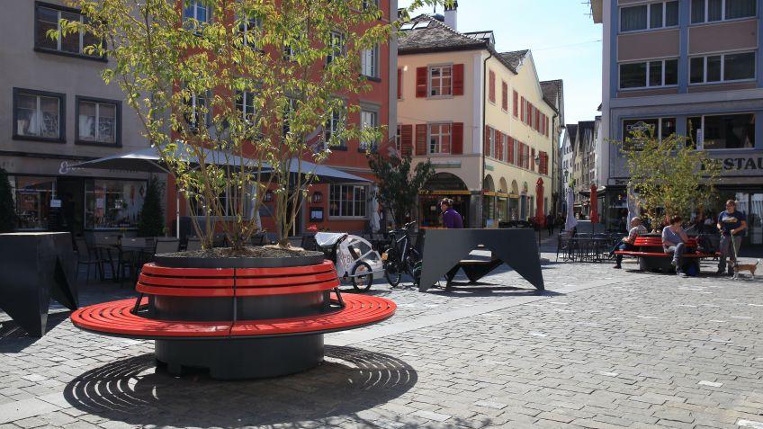 cityGREEN  SEQUOIA  Pflanztrog  mit  Rundbank  in  Chur