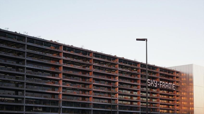 Die  spezielle  Fassade  des  Gebäudes  garantiert  bei  Tag  einen  gesunden  Einfall  von  Sonnenlicht