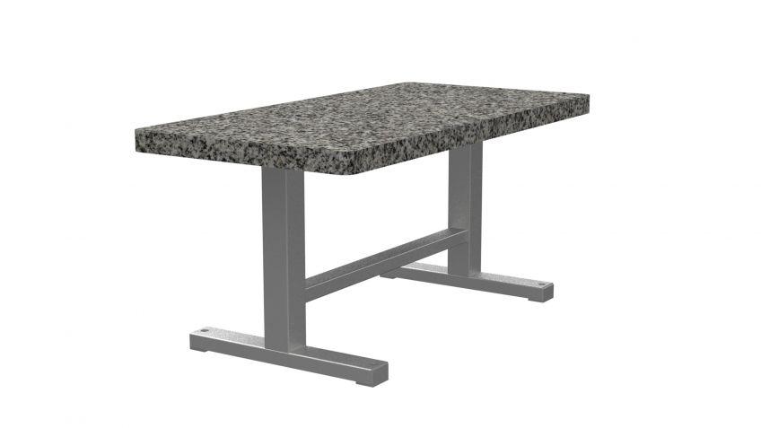 Park  Tisch  mit  massiver  Kunststein-Tischplatte  und  Stahgestell.