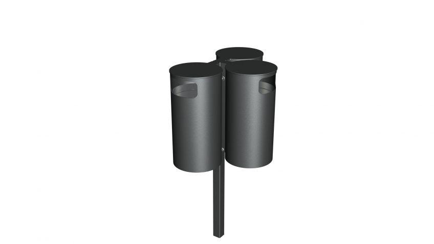 Dreier-Kombination  aus  Public  Bin  Abfallkübeln  mit  jeweils  50  Litern  Fassungsvermögen  für  stark  frequentierte  Orte.
