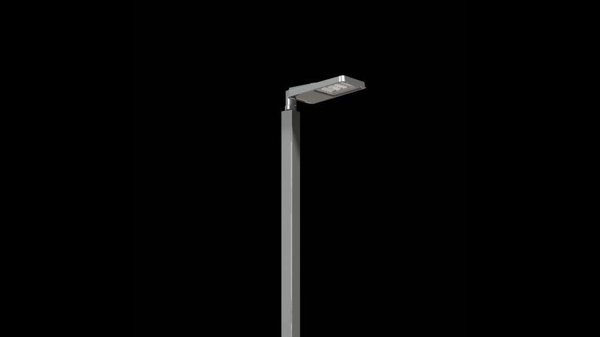 Lichtmast  aus  Vierkant-Stahlrohr.