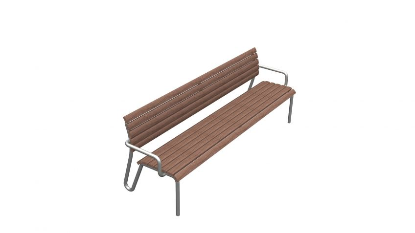 Vivax  Sitzbank  mit  Rücken-  und  Armlehnen  mit  feuerverzinktem  Gestell.