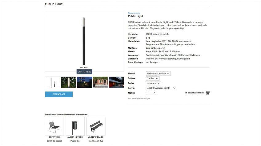 Simpel  und  benutzerfreundlich:  Auf  Produktseiten  kann  man,  sofern  vorhanden,  zwischen  verschiedenen  Ausführungen  wählen.