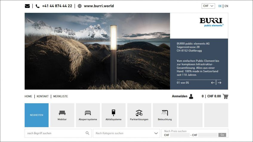 Auf  der  Startseite  sind  wie  auf  www.burri.world  die  verschiedenen  Produktkategorien  aufgeführt.