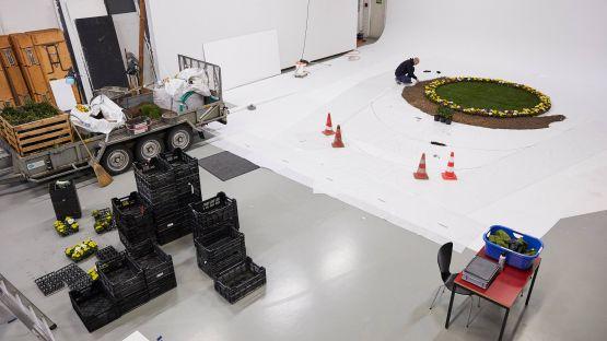 Kies, Rindenmulch, Rollrasen, Berberitzen und Primeli erwecken die Installation zum Leben