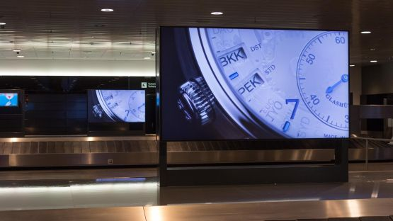 Several monitor steles in horizontal format are located at Baggage Claim 2 at Zurich Airport